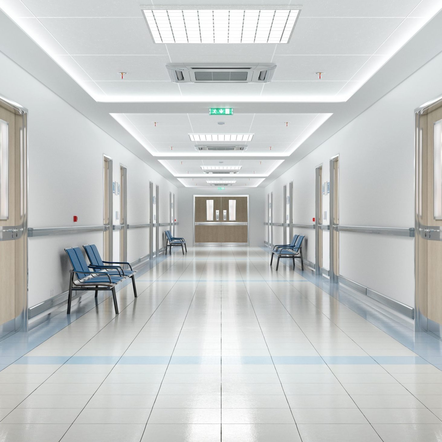 Long hospital bright corridor with rooms and blue seats 3D rendering